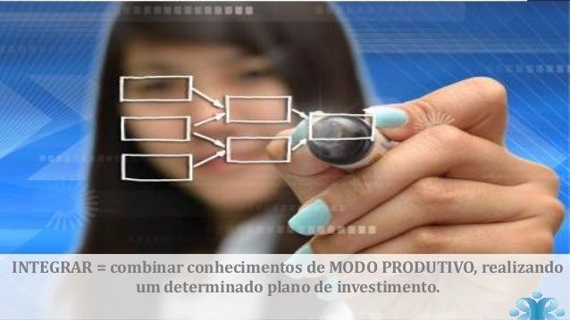 INTEGRAR = combinar conhecimentos de MODO PRODUTIVO, realizando um determinado plano de investimento.