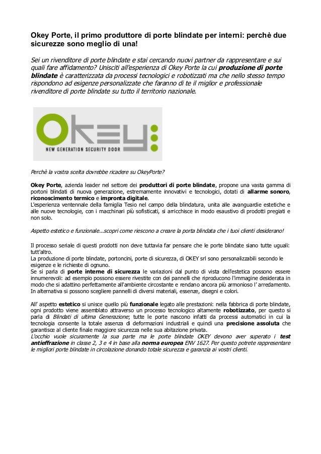 Produttori Porte Blindate Okey Srl è Tra I Primi Fornitori 100 Made
