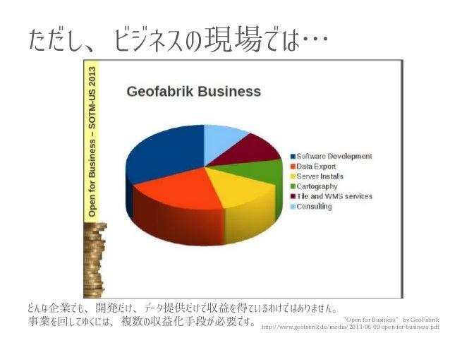 """ただし、ビジネスの現場では…  """"Open for Business"""" by GeoFabrik http://www.geofabrik.de/media/2013-06-09-open-for-business.pdf  どんな企業でも、開..."""