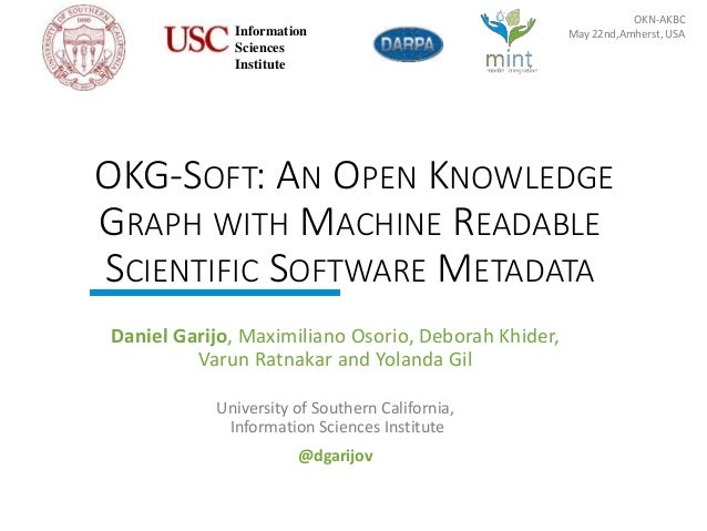 http://mint-project.info OKG-SOFT: AN OPEN KNOWLEDGE GRAPH WITH MACHINE READABLE SCIENTIFIC SOFTWARE METADATA Daniel Garij...