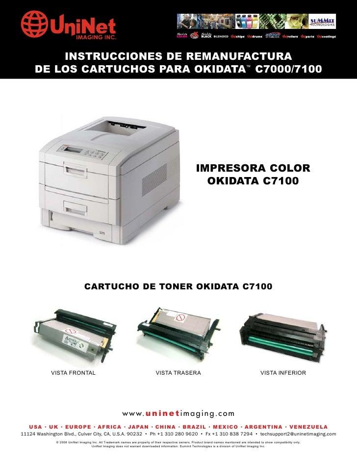 INSTRUCCIONES DE REMANUFACTURA      DE LOS CARTUCHOS PARA OKIDATA™ C7000/7100                                             ...