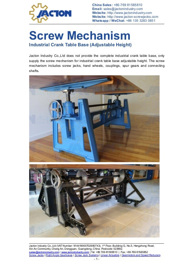 industrial crank table base lift mechanism with adjustable height