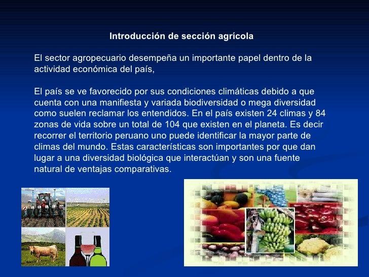 Introducción de sección agrícola El sector agropecuario desempeña un importante papel dentro de la actividad económica del...