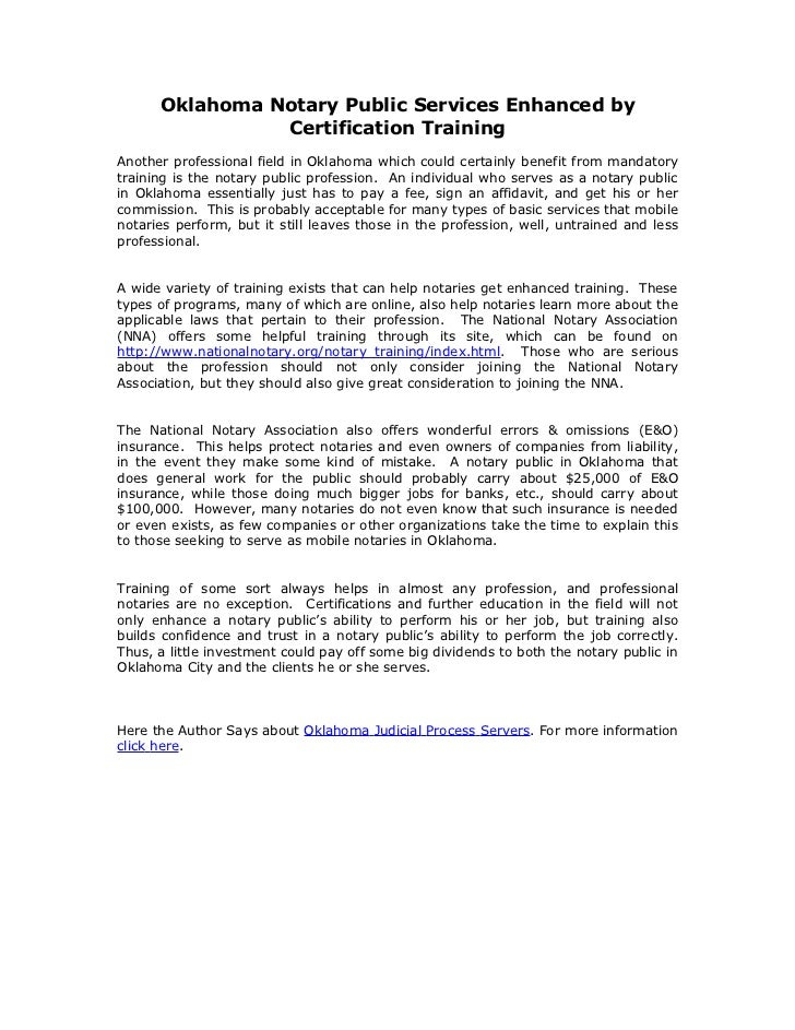 Oklahoma notary public services enhanced by certification training
