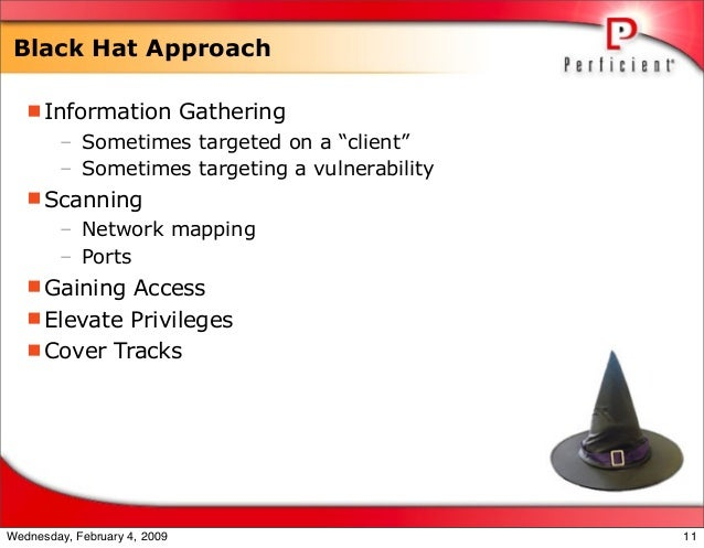 """Black Hat Approach Information Gathering – Sometimes targeted on a """"client"""" – Sometimes targeting a vulnerability Scanni..."""