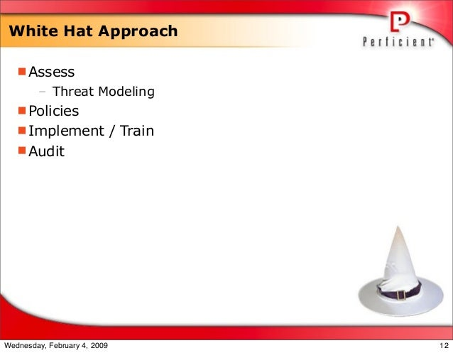 White Hat Approach Assess – Threat Modeling Policies Implement / Train Audit 12Wednesday, February 4, 2009