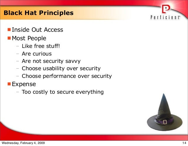 Black Hat Principles Inside Out Access Most People – Like free stuff! – Are curious – Are not security savvy – Choose us...