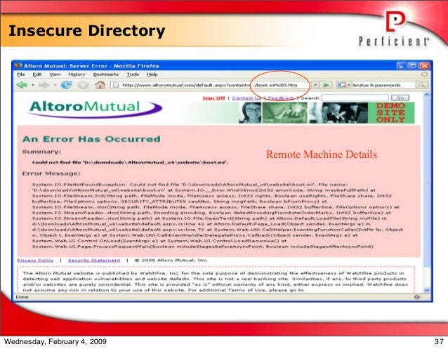 Insecure Directory Remote Machine Details 37Wednesday, February 4, 2009