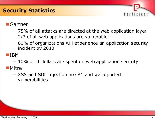 Security Statistics Gartner – 75% of all attacks are directed at the web application layer – 2/3 of all web applications ...