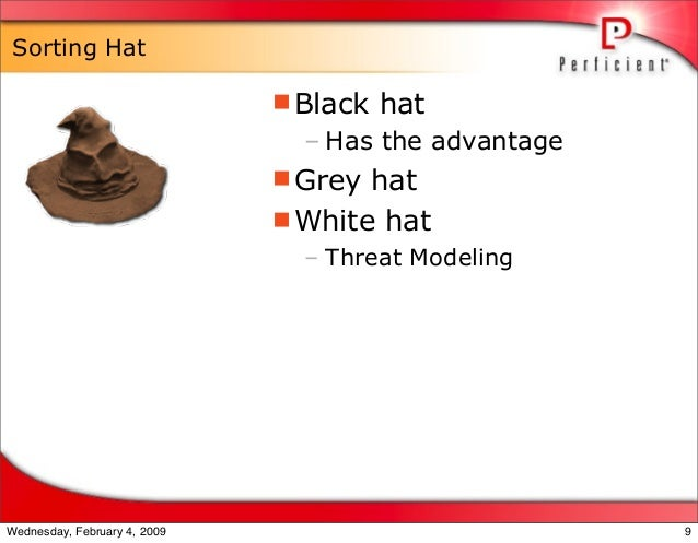Sorting Hat Black hat – Has the advantage Grey hat White hat – Threat Modeling 9Wednesday, February 4, 2009