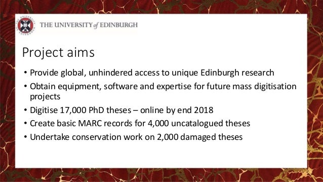uk thesis digitisation project Service is being provided to customers this project was set up to address this by aiming to understand the digitisation service in different institutions, establish robust measurements and.