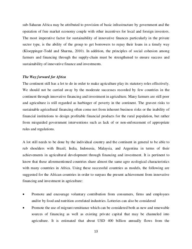agriculture finance thesis Agriculture finance agriculture is a major source of livelihood throughout the world, especially for the majority of poor people living in rural areas in developing countries a key.