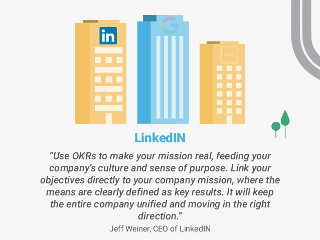 """""""Use OKRs to make your mission real, feeding your company's culture and sense of purpose. Link your objectives directly to..."""