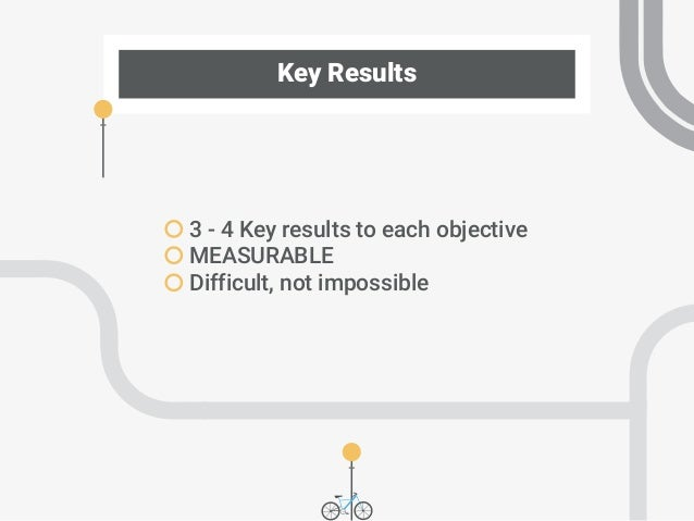 Key Results 3 - 4 Key results to each objective MEASURABLE Difficult, not impossible