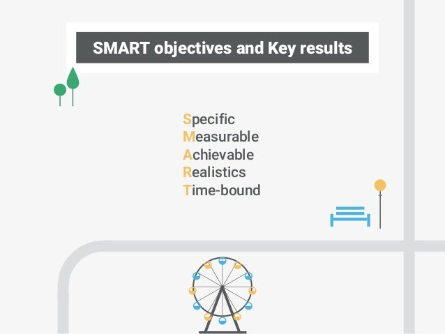 SMART objectives and Key results Specific Measurable Achievable Realistics Time-bound