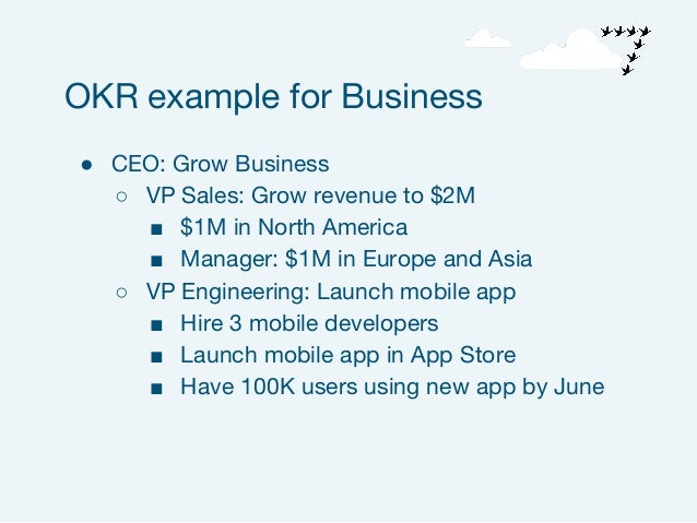 ● CEO: Grow Business ○ VP Sales: Grow revenue to $2M ■ $1M in North America ■ Manager: $1M in Europe and Asia ○ VP Enginee...