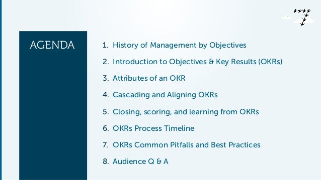 AGENDA 1. History of Management by Objectives 2. Introduction to Objectives & Key Results (OKRs) 3. Attributes of an OKR 4...