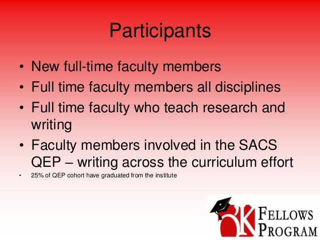Participants • New full-time faculty members • Full time faculty members all disciplines • Full time faculty who teach res...
