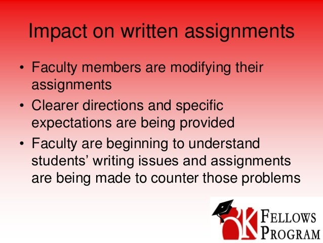 Impact on written assignments • Faculty members are modifying their assignments • Clearer directions and specific expectat...