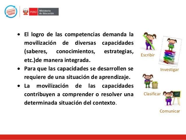El logro de las competencias demanda la movilización de diversas capacidades (saberes, conocimientos, estrategias, etc.)de...