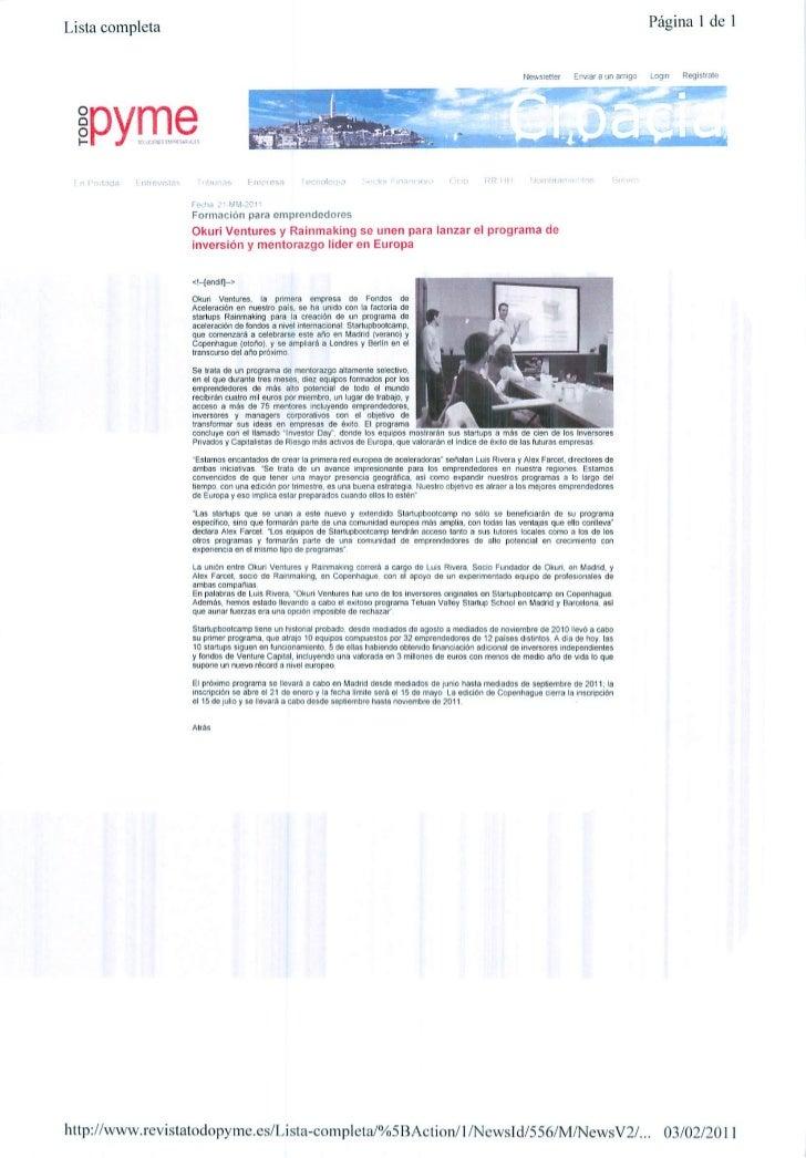 Okuri Ventures & Tetuan Valley - Menciones en medios Feb2011 parte B