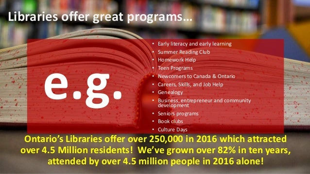 And Ontario's Libraries are so much more than just culture and recreation!