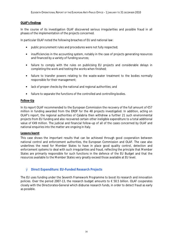 ELEVENTH OPERATIONAL REPORT OF THE EUROPEAN ANTI-FRAUD OFFICE – 1 JANUARY TO 31 DECEMBER 2010    Case study C: Complex fra...