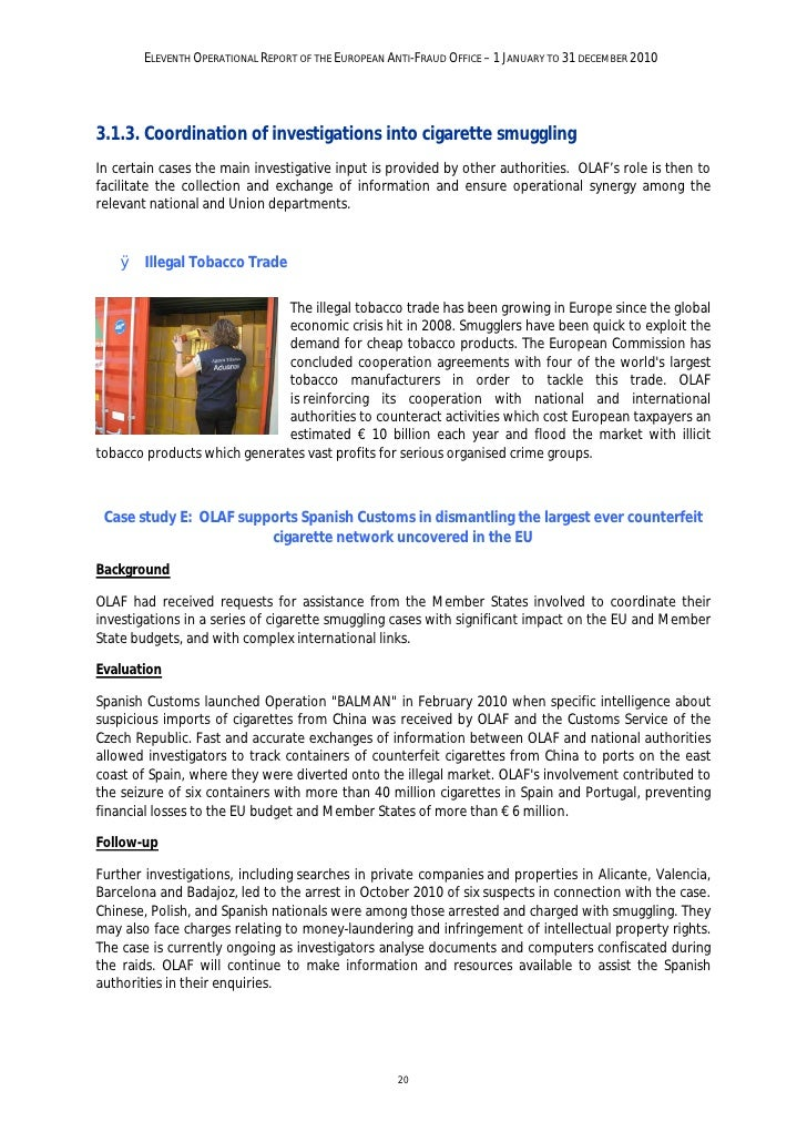 ELEVENTH OPERATIONAL REPORT OF THE EUROPEAN ANTI-FRAUD OFFICE – 1 JANUARY TO 31 DECEMBER 2010Lessons learntThis case shows...