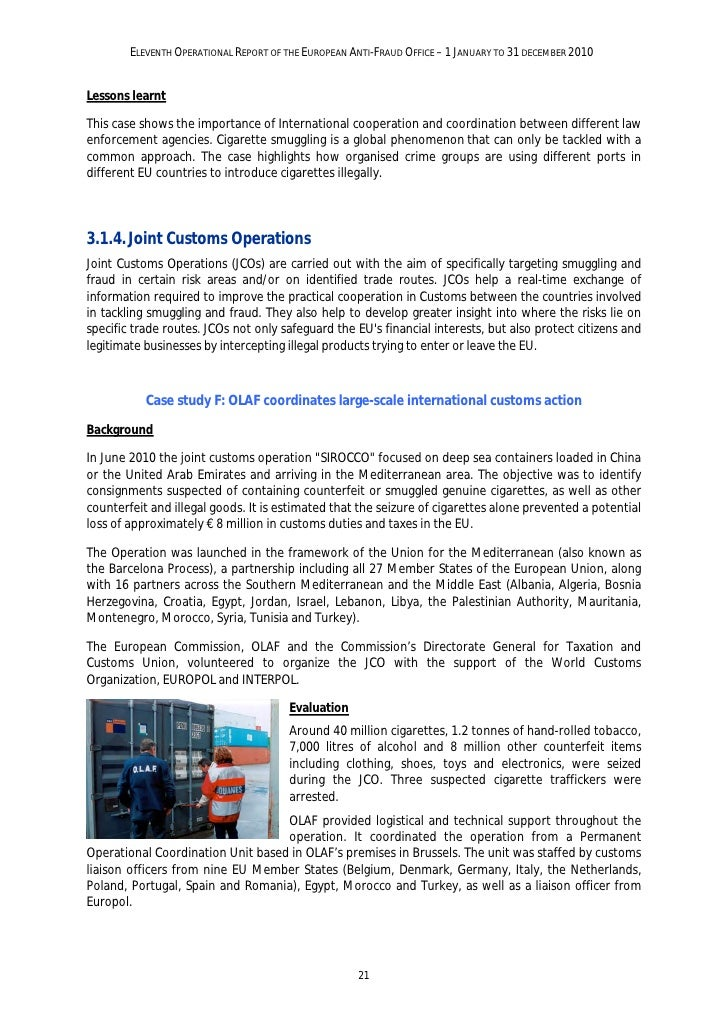 ELEVENTH OPERATIONAL REPORT OF THE EUROPEAN ANTI-FRAUD OFFICE – 1 JANUARY TO 31 DECEMBER 2010Follow-upThe national authori...