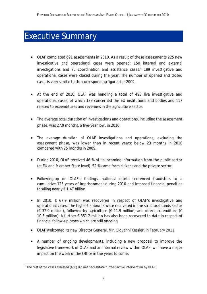 ELEVENTH OPERATIONAL REPORT OF THE EUROPEAN ANTI-FRAUD OFFICE – 1 JANUARY TO 31 DECEMBER 2010Foreword                   It...