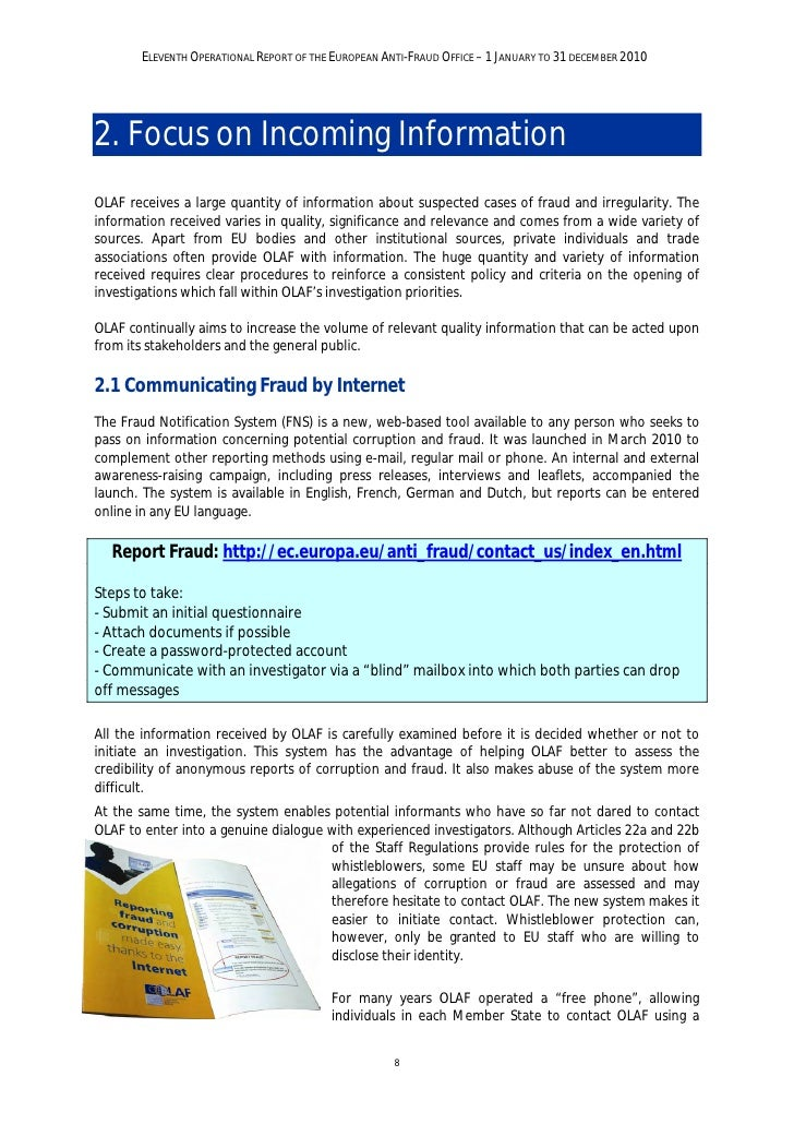 ELEVENTH OPERATIONAL REPORT OF THE EUROPEAN ANTI-FRAUD OFFICE – 1 JANUARY TO 31 DECEMBER 2010toll-free number. Although ma...