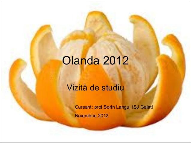 Olanda 2012Vizită de studiu  Cursant: prof.Sorin Langu, ISJ Galati  Noiembrie 2012