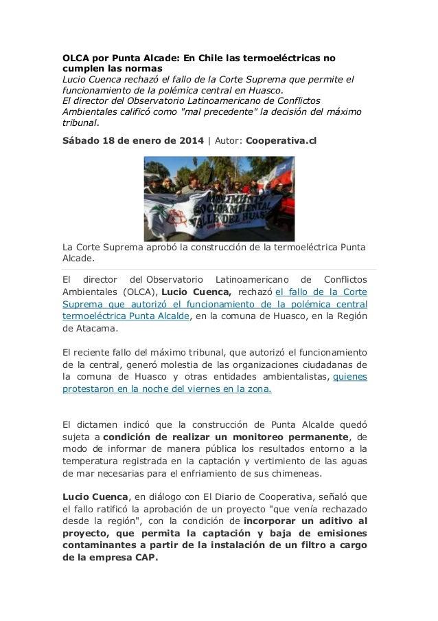OLCA por Punta Alcade: En Chile las termoeléctricas no cumplen las normas Lucio Cuenca rechazó el fallo de la Corte Suprem...