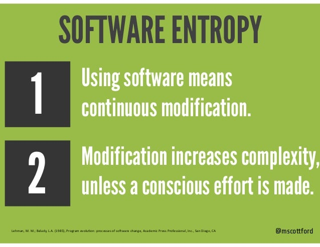 @mscottford Modification increases complexity, unless a conscious effort is made. Using software means continuous modifica...