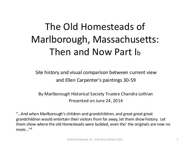 Old Homesteads of Marlborough: Then and Now Part Ib - June 2014