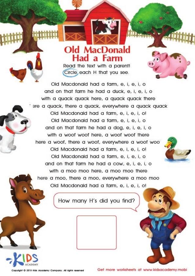 Old Mcdonald lyrics and coloring