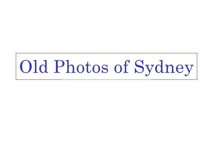 Old Photos of Sydney