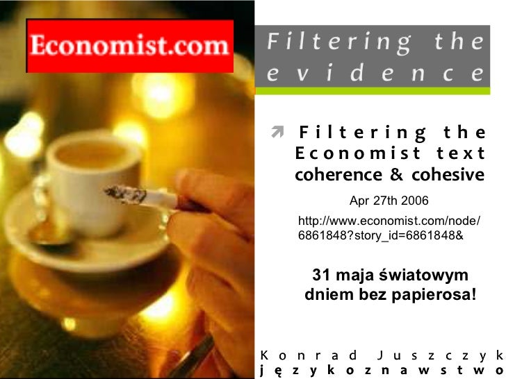 ì F i l t e r i n g  t h e      E c o n o m i s t  t e x t      coherence  &  cohesive               Apr 2...