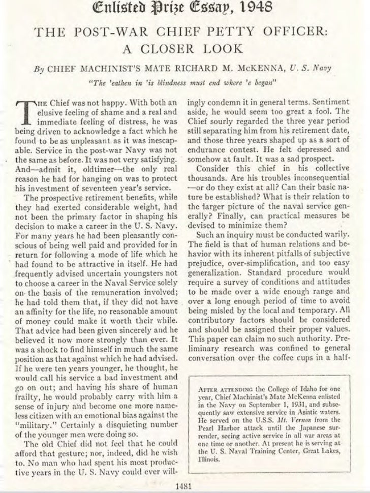 Old School CPO woes (Chief R. McKenna USNI article 1948)