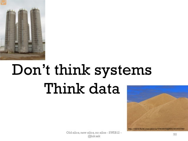 Don't think systems    Think data                                                   http://www.flickr.com/photos/57402879@...