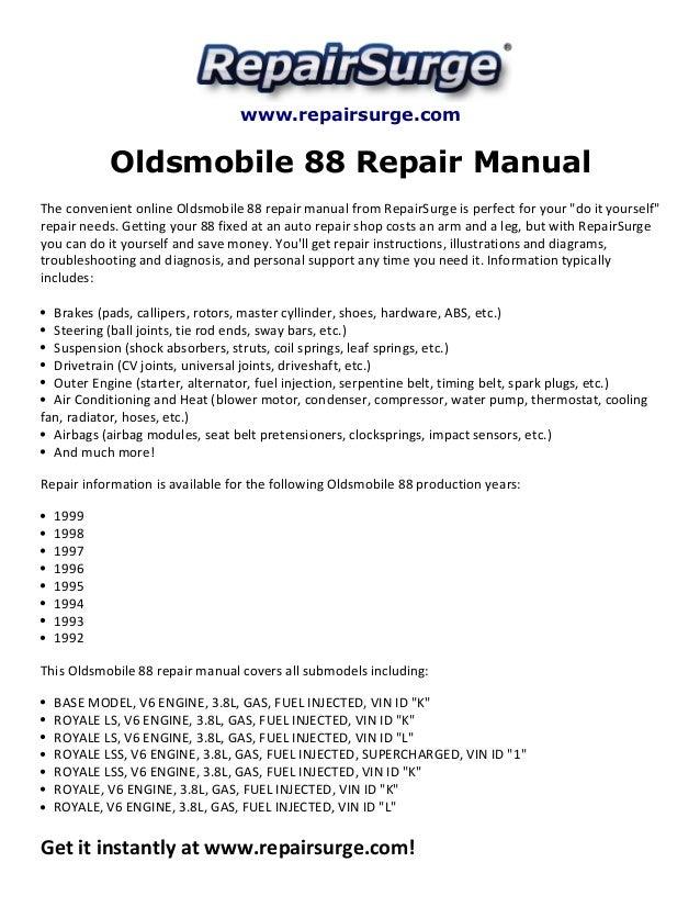 1994 oldsmobile 3 8 engine diagram oldsmobile 88 repair manual 1992 1999  oldsmobile 88 repair manual 1992 1999