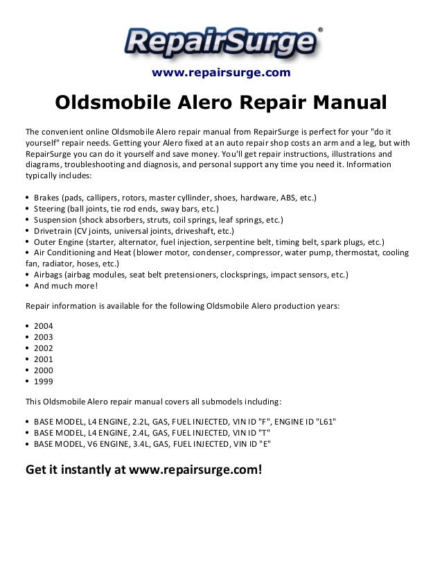 oldsmobile alero repair manual 1999 2004 rh slideshare net Alero 2 4 Coolant Diagram Diagram of a 2000 Oldsmobile Alero