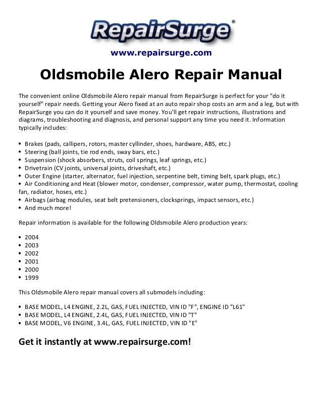 oldsmobile alero repair manual 1999 2004 rh slideshare net 2003 oldsmobile alero owners manual 2003 oldsmobile alero repair manual