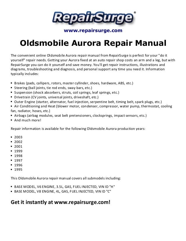 oldsmobile aurora repair manual 1995 2003 rh slideshare net Oldsmobile Aurora 3.5L 1996 Oldsmobile Aurora Repair Manual