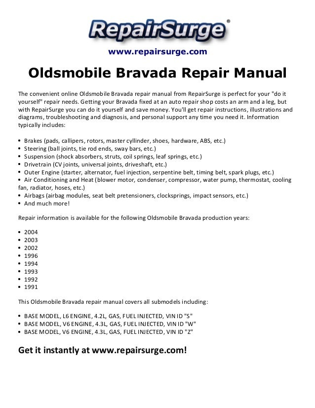 oldsmobile bravada repair manual 1991 2004 rh slideshare net 1999 Oldsmobile Cutlass Supreme 1999 oldsmobile cutlass repair manual pdf
