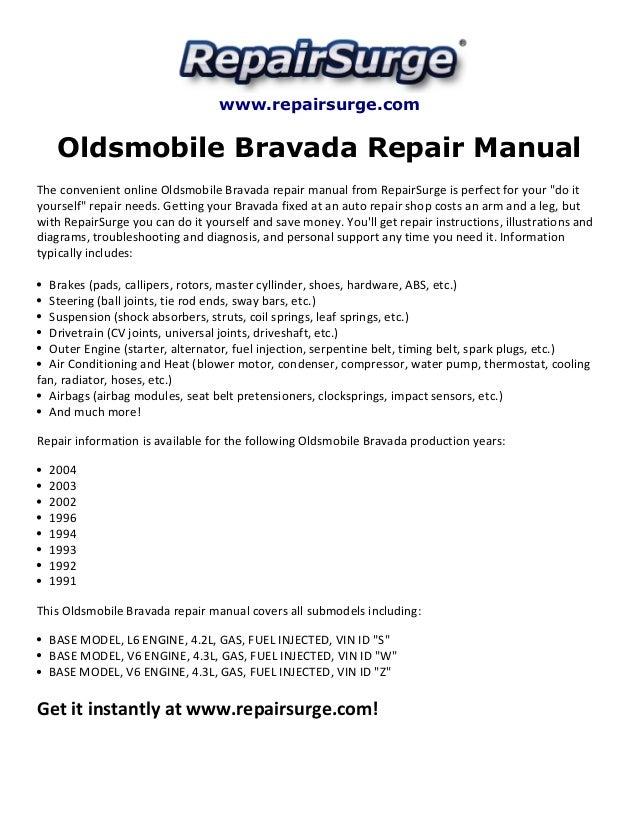 oldsmobile bravada repair manual 1991 2004 rh slideshare net 2002 Oldsmobile Bravada Parts 2001 Olds Bravada Vacuum Diagram