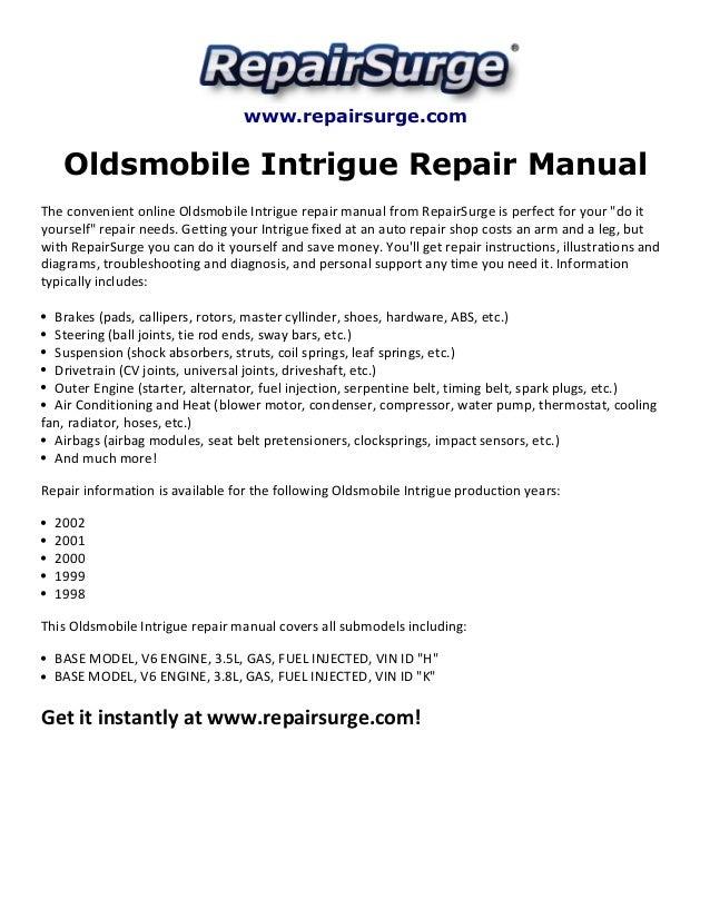 oldsmobile intrigue repair manual 1998 2002 rh slideshare net 2002 oldsmobile alero service manual 2002 oldsmobile intrigue service manual
