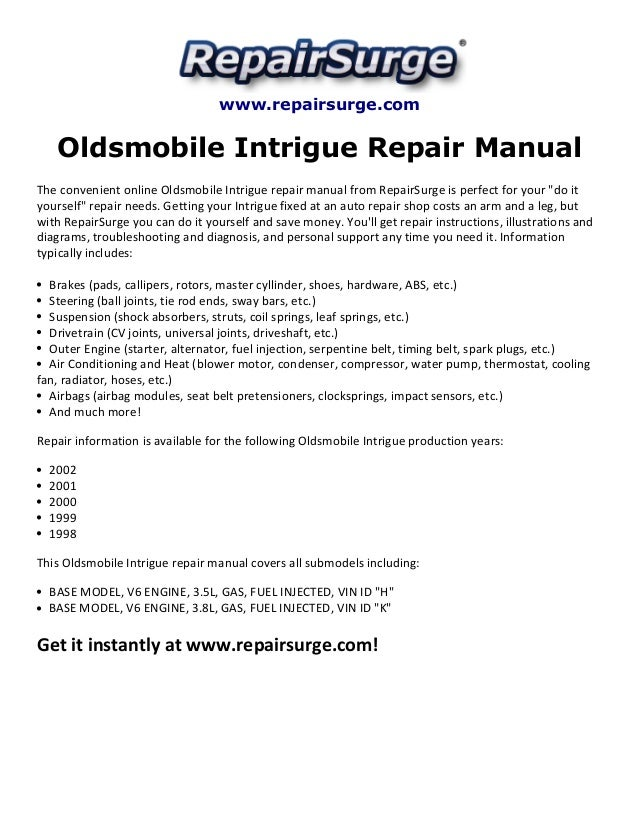 Oldsmobile Intrigue Repair Manual 1998 2002