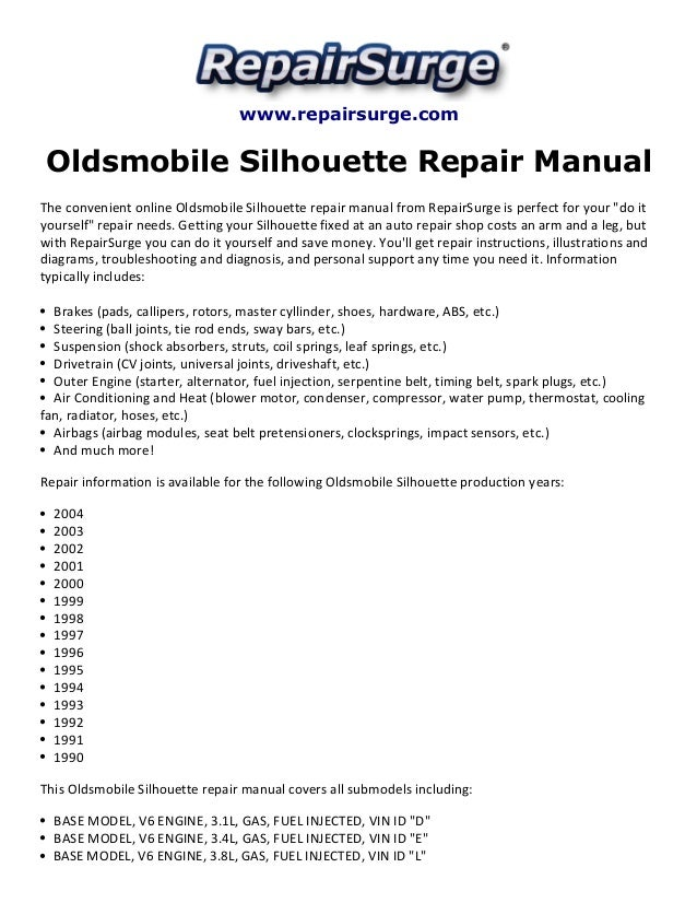 oldsmobile silhouette repair manual 1990 2004 rh slideshare net 2000 oldsmobile silhouette owners manual 2000 oldsmobile silhouette owners manual