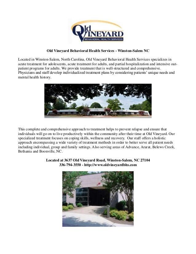Old Vineyard Behavioral Health Services Winston Salem Nc